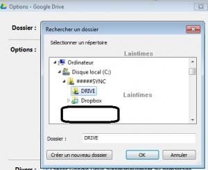parametres dossier google drive
