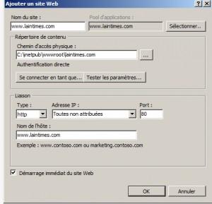configuration pour ajouter un site sur iis