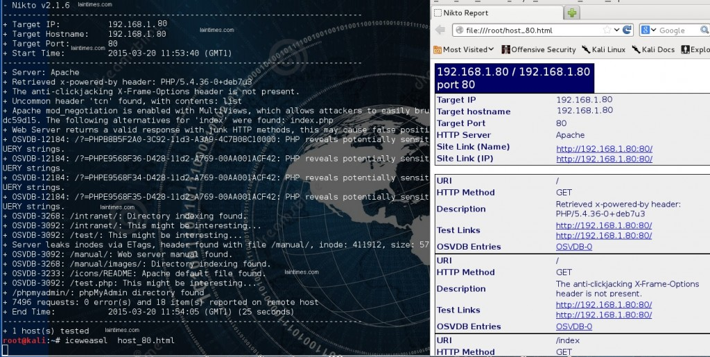 2 nikto analyse host avec fichier de sortie html