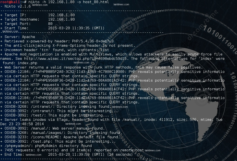 3 nikto analyse de un host potentiellement vulnerable