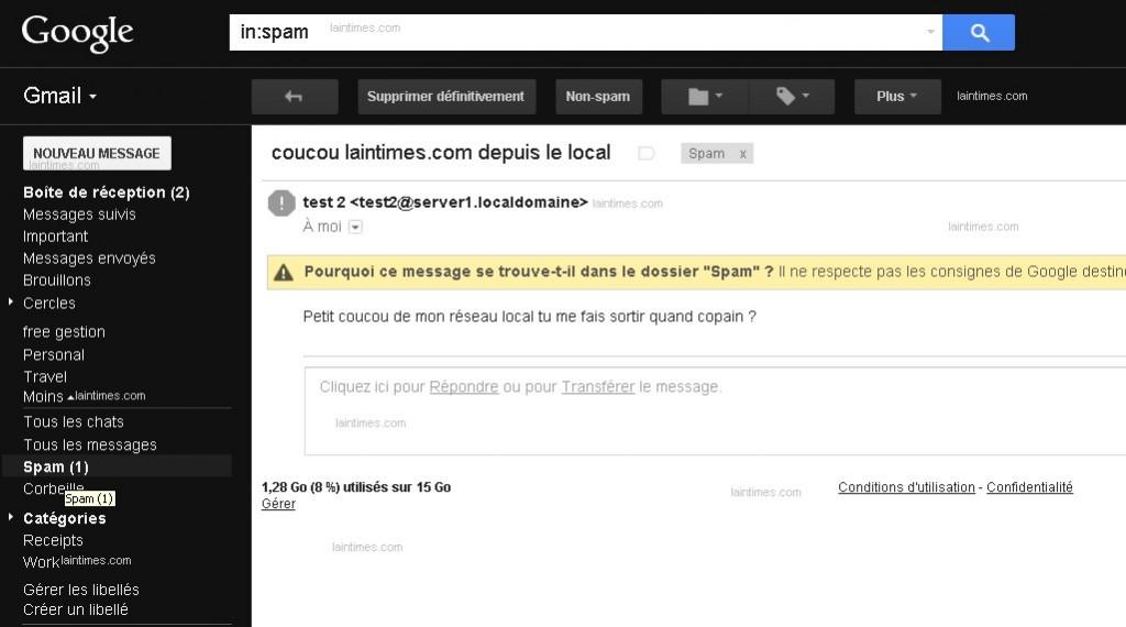 12 messages arrivent dans spam depuis le local