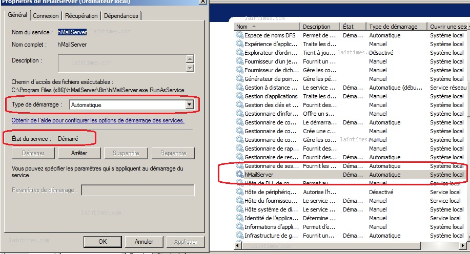 01 service hmailserver installation