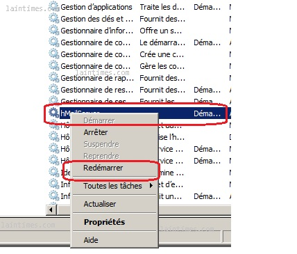 06 redemarrage service hmailserver